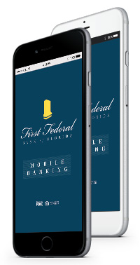iPhone 6 showing First Federal's mobile banking.