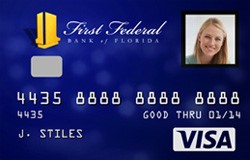 A photo of a First Federal debit card with a photo identification embedded.