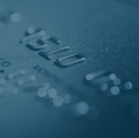 A close up of a credit card.