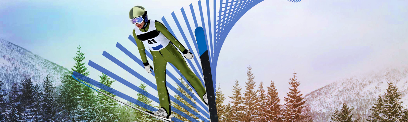 Winter Olympic ski jumper flying through the air
