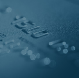 A close up photo of a credit or debit card.