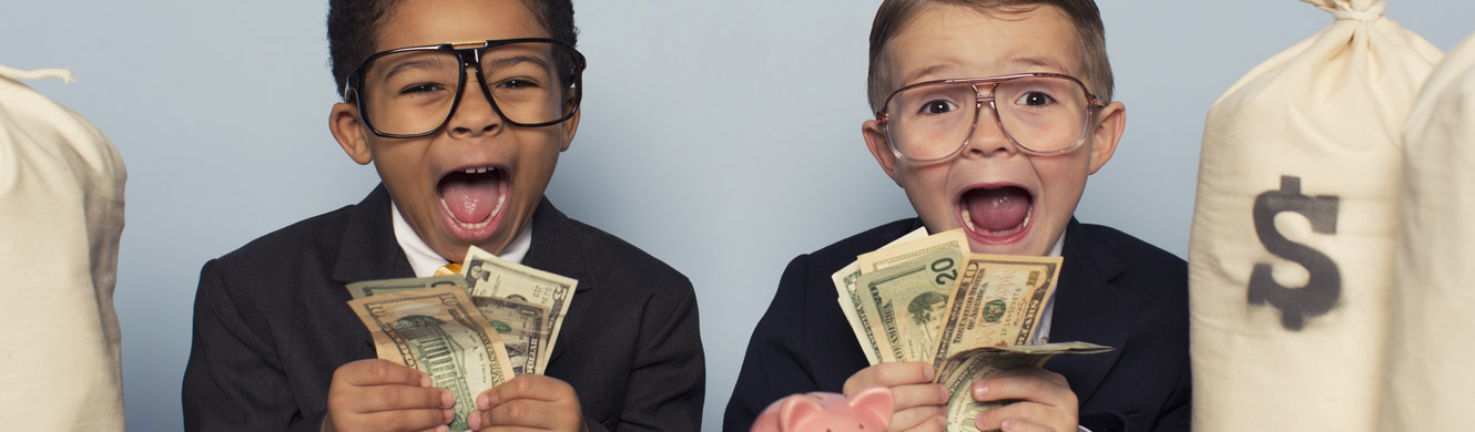 Two young boys wearing suits and oversized glasses are yelling while holding stacks of money